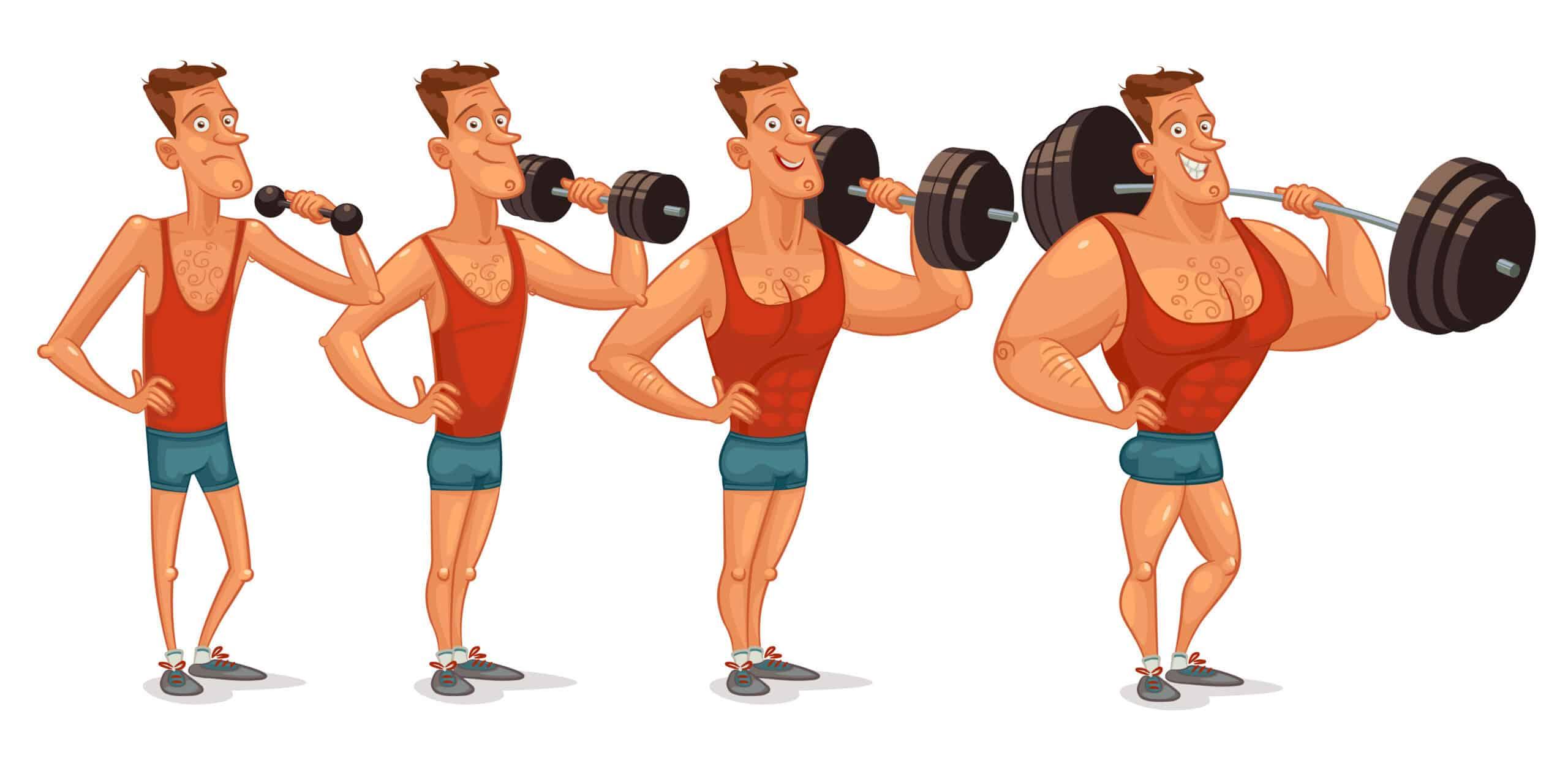 Kurser skelett tittar på muskelgubbe